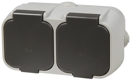 Feuchtraum Steckdose 2 fach, 250V~/16A, IP44, AP, grau/schwarz