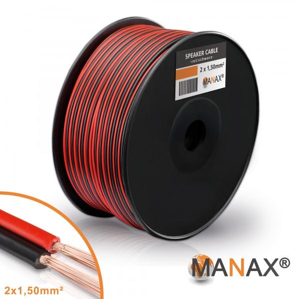 100m 2x1,5mm² Lautsprecherkabel rot / schwarz Audio Kabel Boxenkabel 100% CCA