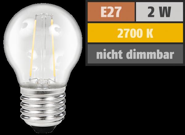 LED Filament Tropfenlampe McShine ''Filed'', E27, 2W, 200Lm, warmweiß, klar