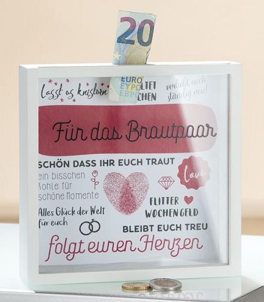 Gilde MDF Spardose - Für das Brautpaar - mit Sichtfenster