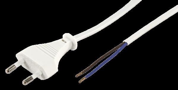 Euro-Netzkabel McPower mit blanken Enden LŠänge 5,0 m, 2x0,75 mm², weiß