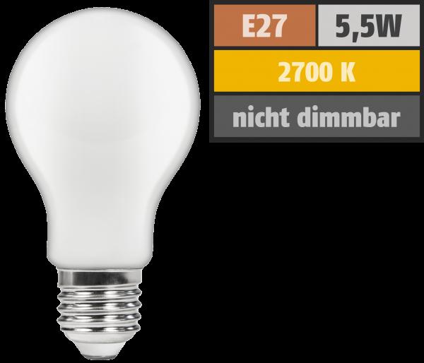 LED Filament GlüŸhlampe McShine ''Filed'', E27, 5,5W, 540 lm, warmweiß, matt