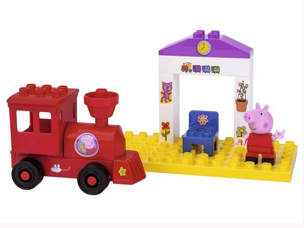 BIG Playbig Bloxx Peppa Pig Zughaltestelle Verbaubar mit bekannten Spielsteinen