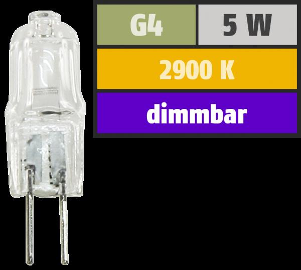 Halogen-Stiftsockellampe McShine, 12 V/5 W, Sockel G4