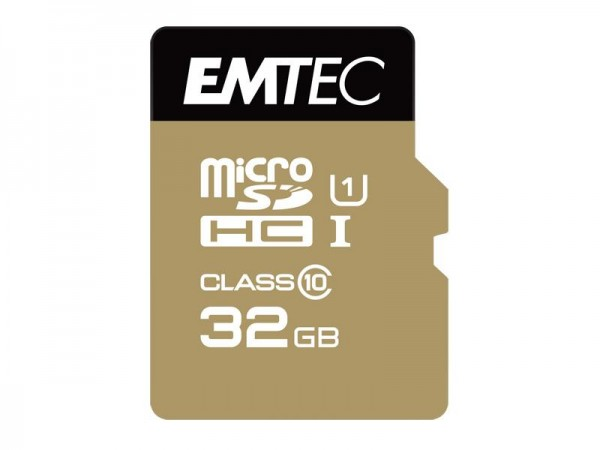 32 GB microSDHC Speicherkarte Adapter Class 10 UHS-1 85 MB/s Gold Memory EMTEC