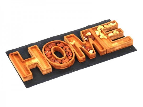 HOME Servierset, Servierplatte, Platte aus Naturholz Bambus, Bamboo 40x20x2,5cm