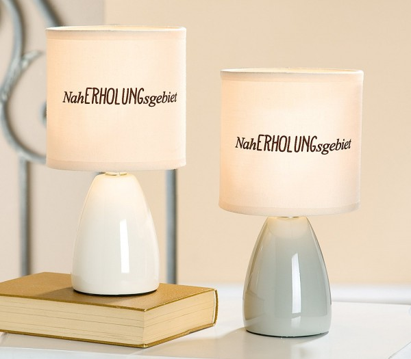 Lampe Naherholungsgebiet... Keramik beige max. 40 W E14 H 25 cm, Tischlampe