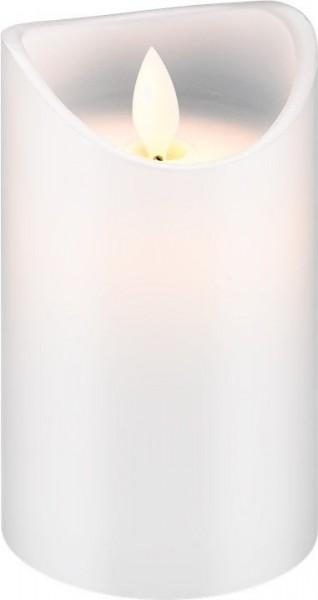 2 Stück LED Echtwachs-Kerze weiß, 7,5x12,5 cm; Timer-Funktion warmer Kerzenschein