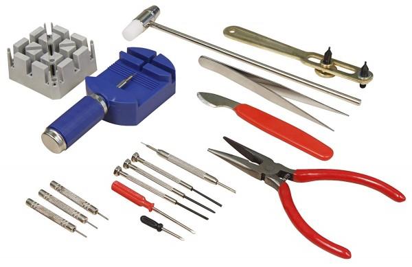 Uhrenwerkzeug-Set McPower, 16-teilig, Stiftaustreiber, Schraubendreher uvm.