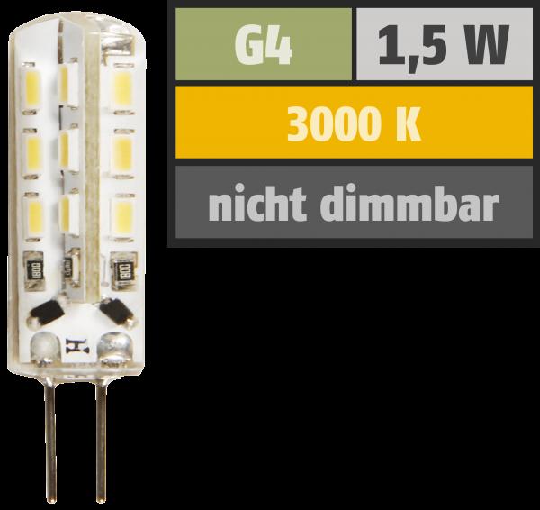 LED-Stiftsockellampe McShine ''Silicia'', G4, 1,5W, 120 lm, warmweiß