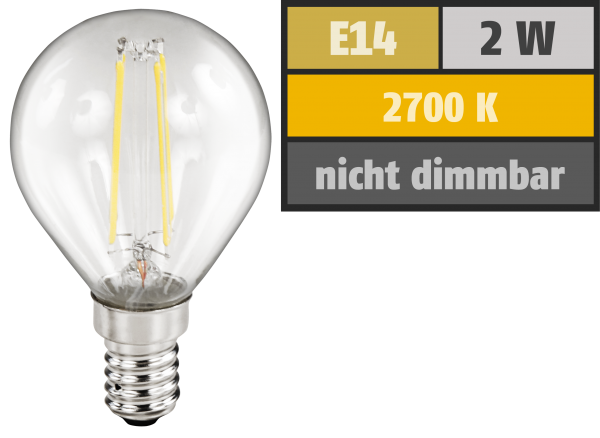 LED Filament Tropfenlampe McShine ''Filed'', E14, 2W, 200 lm, warmweiß, klar