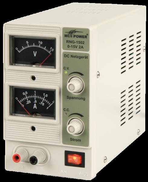 LabornetzgeräŠt McPower ''RNG-1502'', regelbar 0-15 V=, 0-2 A, 2x Analog-Anz., 30 Watt