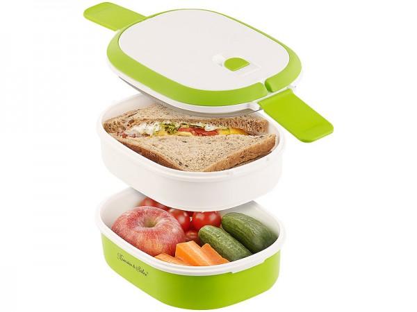 Rosenstein & Söhne Brotdose: Lunchbox mit 2 Etagen und Tragegriff, Clip-Deckel, BPA-frei, 700 ml