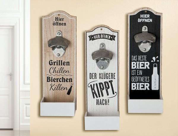 Wand-Flaschenöffner Metallöffner Kronkorkensammler Der klügere Kippt nach Höhe 30 cm, Wanddeko,