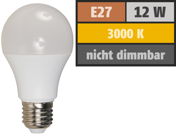 LED GlüŸhlampe McShine, E27, 12W, 940 lm, 3000K, warmweiß