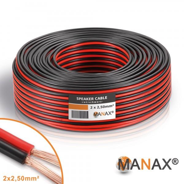 30m 2x2,5mm² Lautsprecherkabel rot / schwarz Audio Kabel Boxenkabel 100% CCA