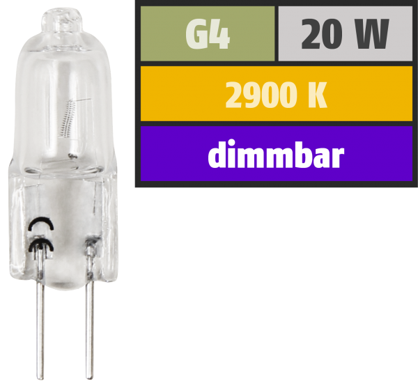 Halogen-Stiftsockellampe McShine XENON, 12V/20W, Sockel G4, 2.000h
