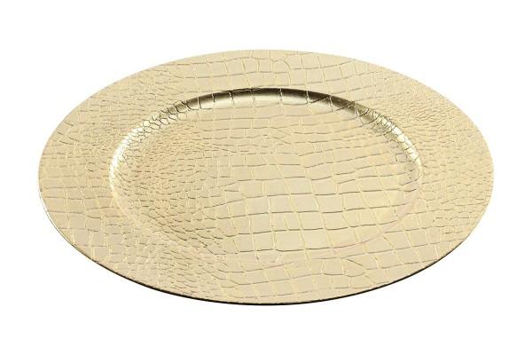 Dekoteller Lederoptik, gold (1 Stück Dekoteller, gold) ca. 33cm Durchmesser