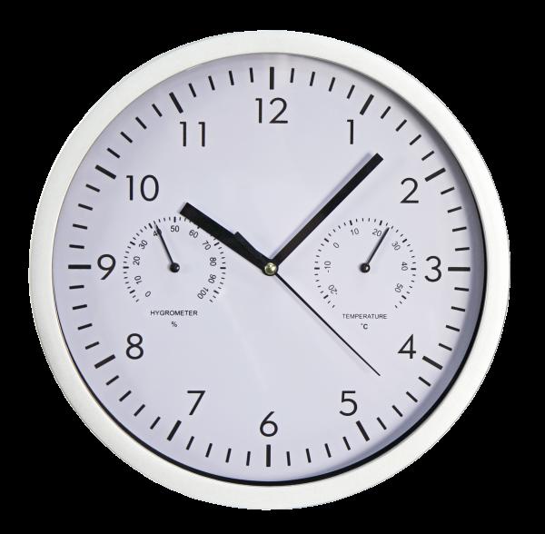 Design-Wanduhr McPower mit Thermo- & Hygrometer, weißes Ziffernblatt, 25cm