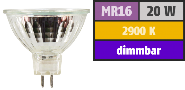 Halogen-Spiegellampe McShine, MR16, 50mm Ø, 12V/20W, 36° Flood