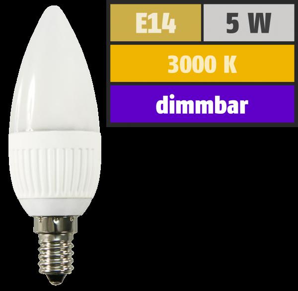 LED-Kerzenlampe McShine, E14, 230V, 300 lm, 9 SMD, 5W, warmweiß, dimmbar