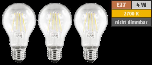 LED Filament Set McShine, 3x GlüŸhlampe, E27, 4W, 470lm, warmweiß, klar