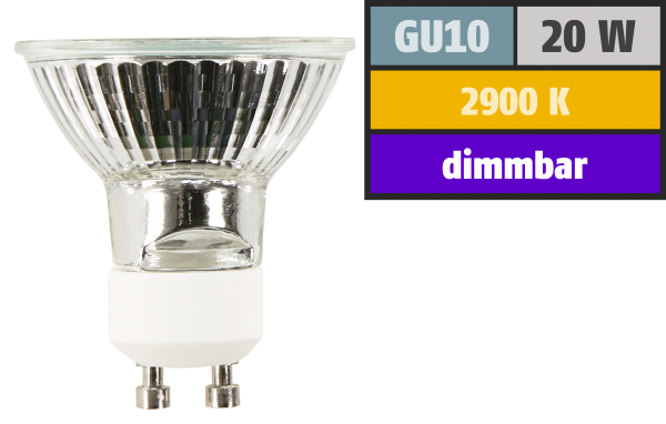 Halogen-Spiegellampe McShine, GU10, 230V/20W, 36°, Frontglas