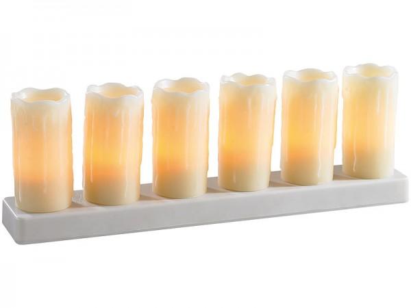 LED Echtwachskerzen 6er Set mit Ladestation für bis zu 8 Std. Romantik pur