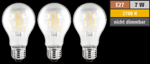 LED Filament Set McShine, 3x GlüŸhlampe, E27, 6W, 810lm, warmweiß, klar