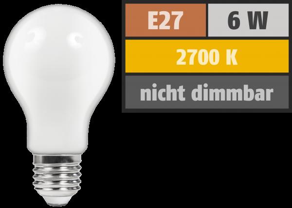LED Filament GlüŸhlampe McShine ''Filed'', E27, 6W, 720 lm, warmweiß, matt