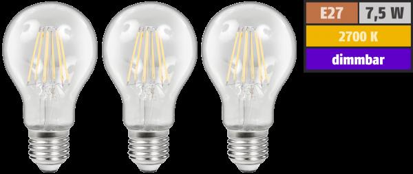 LED Filament Set McShine, 3x GlŸühlampe, E27, 7,5W, 800lm, warmweiß, klar, dimmbar