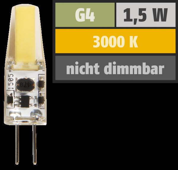 LED-Stiftsockellampe McShine ''Silicia COB'', G4, 1,5W, 200 lm, warmweiß