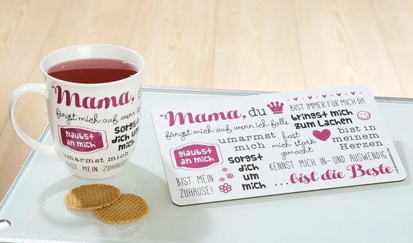 1x Brettchen Mama du bist... Melamin B 23,5 cm, Geschenk, Muttertag, Geschirr