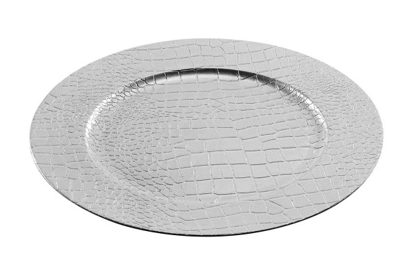 Dekoteller Lederoptik, silber (2 Stück Dekoteller, silber) ca. 33cm Durchmesser