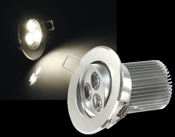 LED-Einbaustrahler McShine ''LES-986'', 9W LEDs, 86mm-Ø, warmweiß