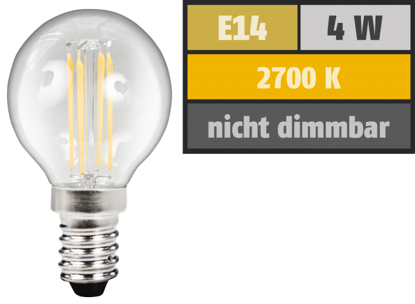 LED Filament Tropfenlampe McShine ''Filed'', E14, 4W, 380 lm, warmweiß