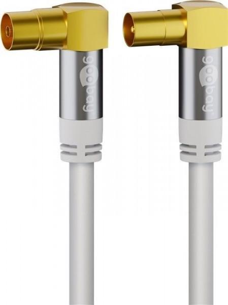 1m TV Antennenkabel 135 dB 4xgeschirmt Koax-Buchse 90° > Koax-Stecker 90° weiß