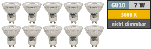 LED-Strahler McShine ''MCOB'' GU10, 7W, 550 lm, warmweiß, 10er-Pack