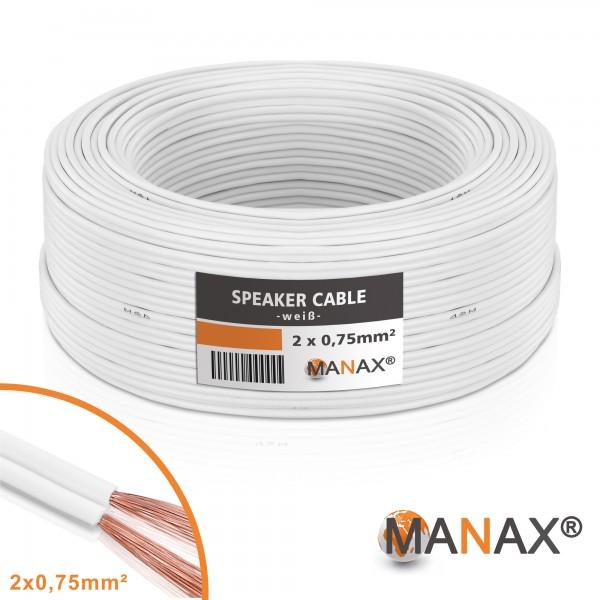 MANAX 25m Lautsprecherkabel 0,75mm² CCA Lautsprecher Boxen HiFi Kabel Weiß