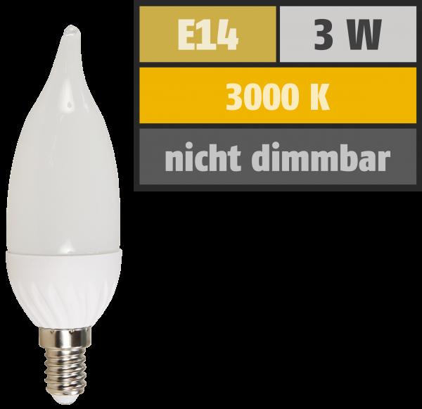 LED Kerzenlampe Windstoß McShine ''LK-30a'', E14, 230V, 3W, 250 lm, warmweiß