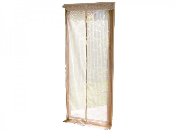 Insektenvorhang: Selbstschließendes Premium-Fliegennetz für Türen, beige