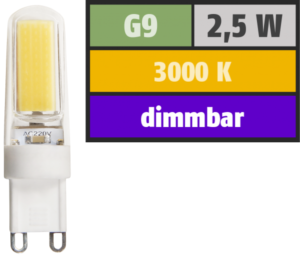 LED-Stiftsockellampe McShine ''Silicia COB'', G9, 2,5W, 260 lm, warmweiß, dimmbar