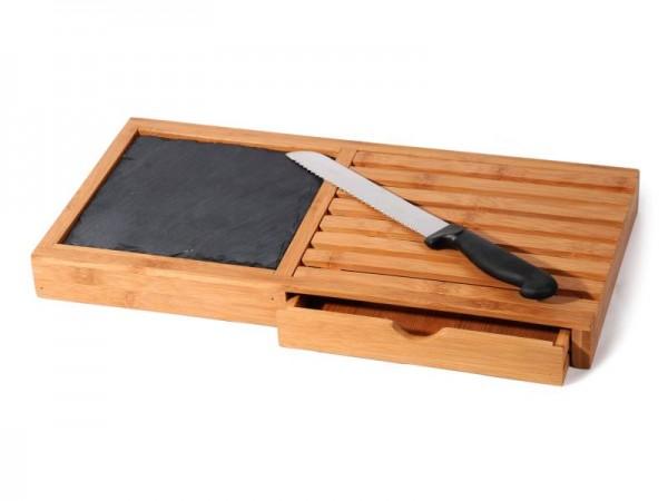 Brotschneidebrett + Messer Bamboo MANCHESTER Bambus Schieferplatte Schneidebrett