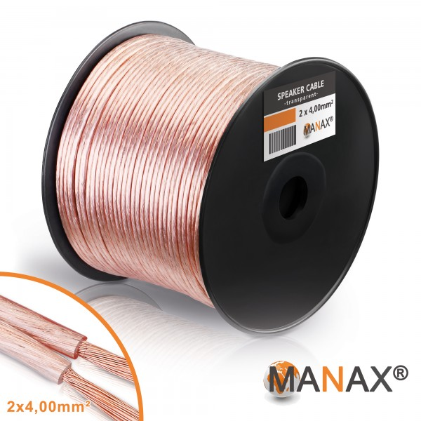 100m 2x4mm² Lautsprecherkabel transparent Audio Kabel Boxenkabel 100% CCA