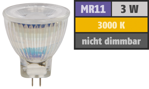 LED-Strahler McShine ''MCOB'' MR11 / G4, 3W, 250 lm, warmweiß