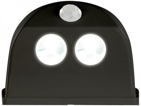 Luminea 2er-Set LED-Türleuchten, Bewegungs-/Lichtsensor, 0,4 W, 50 lm, schwarz