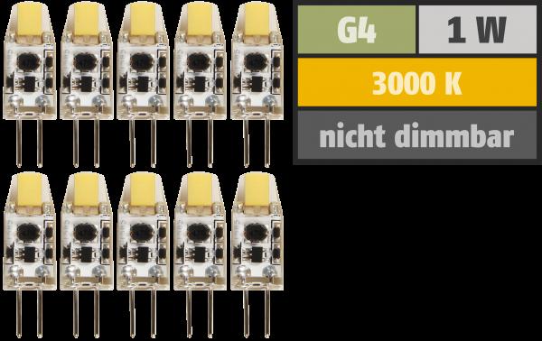 LED-Stiftsockellampe McShine ''Silicia COB'', G4, 1W, 110lm, warmweiß, 10er-Pack
