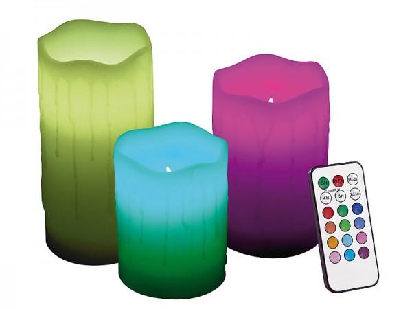 Lunartec Echtwachskerzen mit Farbwechsel-LED & Fernbedienung, 3er-Set
