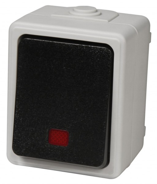 "Feuchtraum Kontroll-Schalter McPower ""Taff"", 250V~/10A, IP44, AP, grau"
