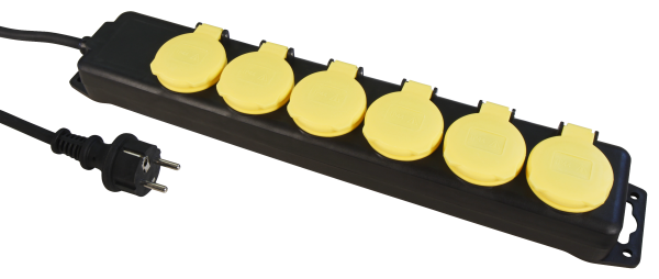 Steckdosenleiste 6-fach, IP44 1,4m Zuleitung